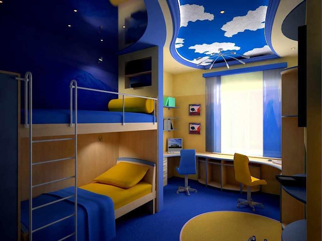 Дизайн детской для двух мальчиков в синем цвете