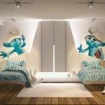 Смурфики на стене над кроватью