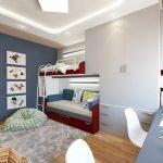 Бело-бардовая мебель в детской