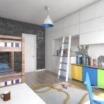 Шкаф с цветными дверцами в детской