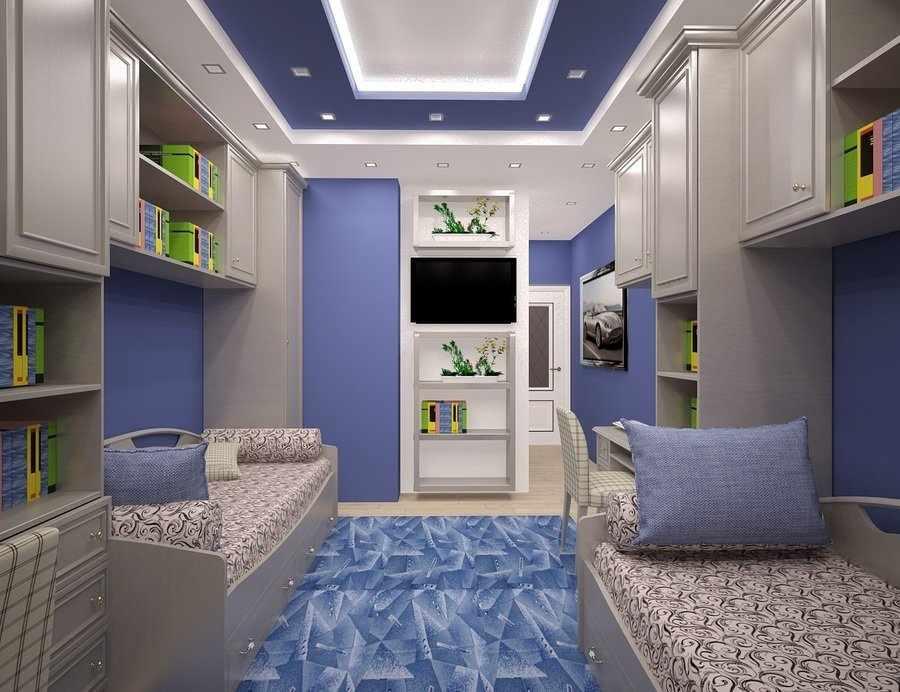 Многоуровневый потолок с подсветкой в детской для двух мальчиков