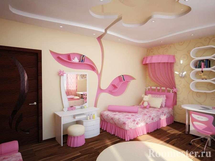 Желто-розовая спальня для девочки