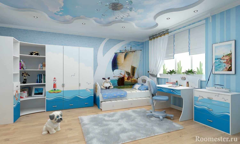 Морская тематика спальни