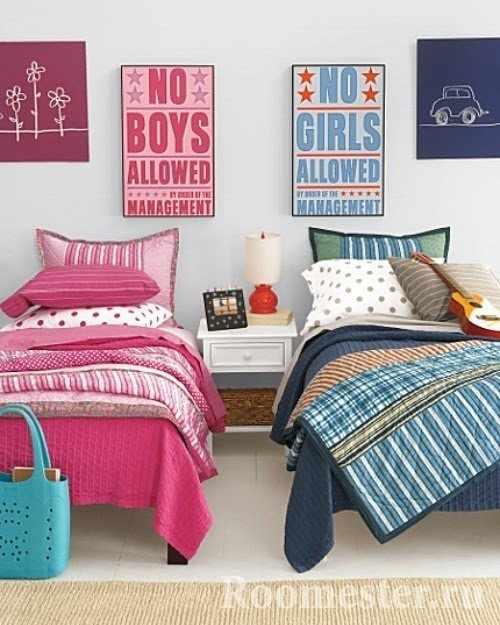 Декор спальни для разнополых детей