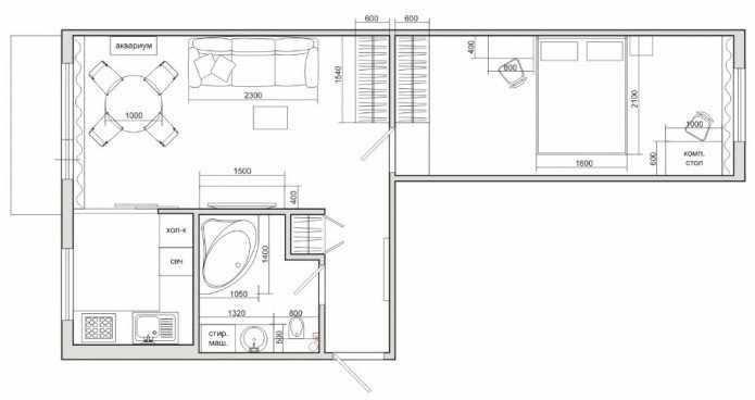Схема планировки 2х комнатной хрущевки