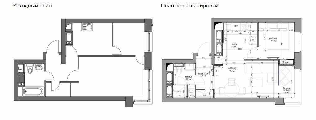 Перепланировка двухкомнатной квартиры 44 кв м