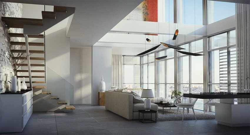 Большие окна - одна из конструктивных особенностей двухуровневой квартиры