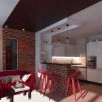 Кухня с кирпичной барной стойкой