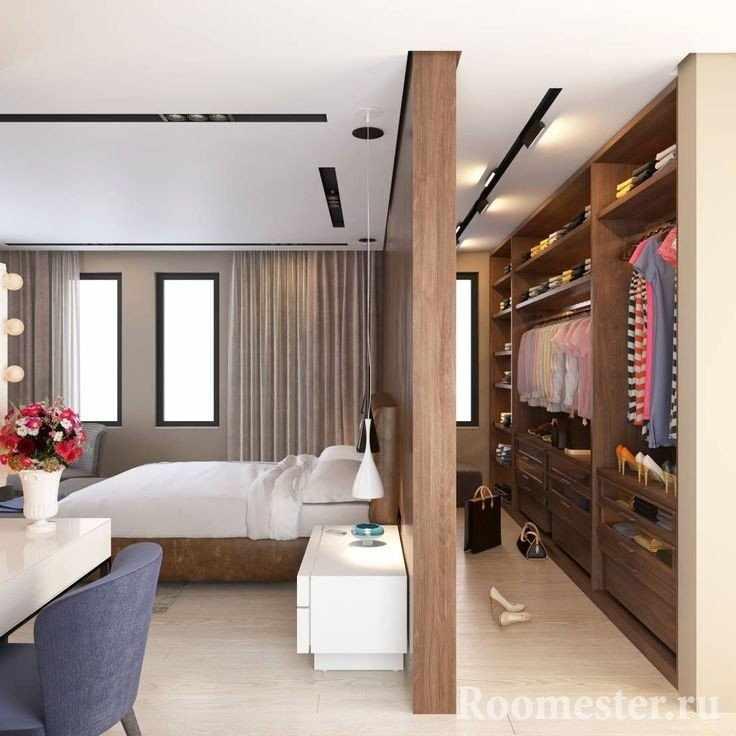 Размещение гардеробной за стеной в спальне