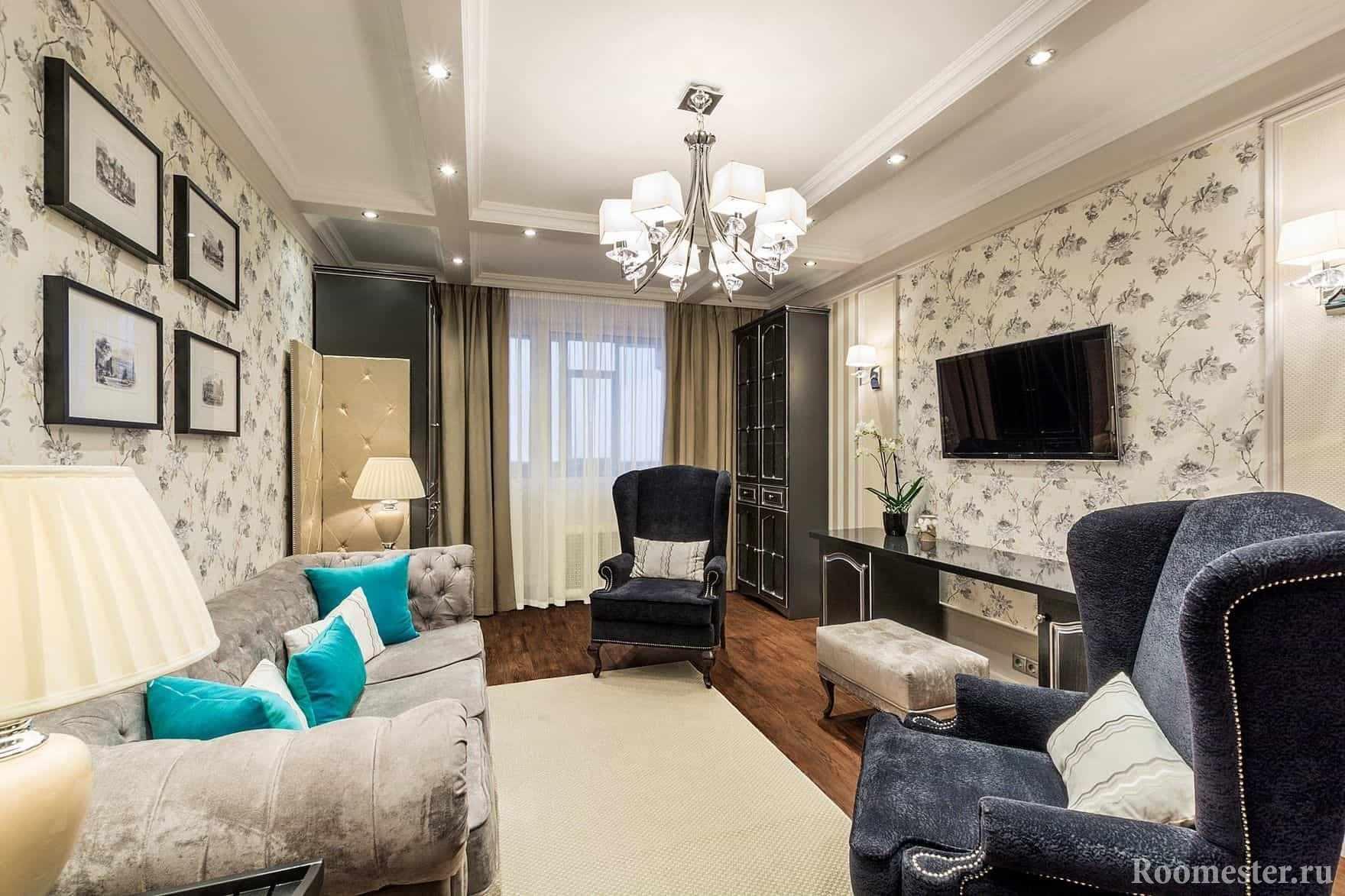 Дорогой дизайн интерьера гостиной