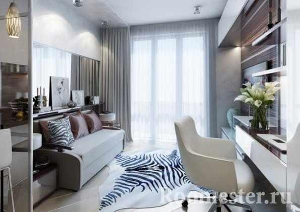 Зеркало в дизайне гостиной 20 кв м