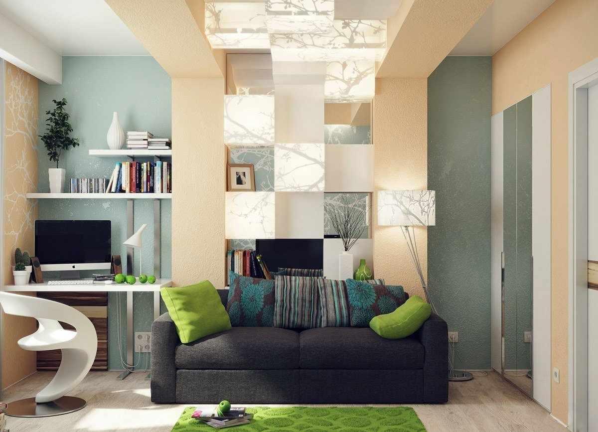 Черный диван с разноцветными подушками