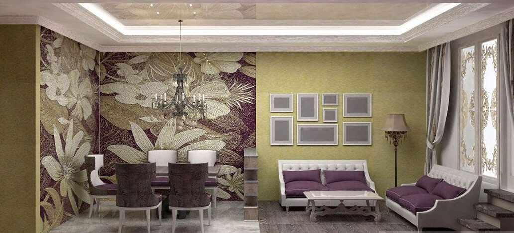 Зонирование гостиной-столовой при помощи обоев и напольного покрытия