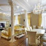 Гостиная-столовая в стиле барокко