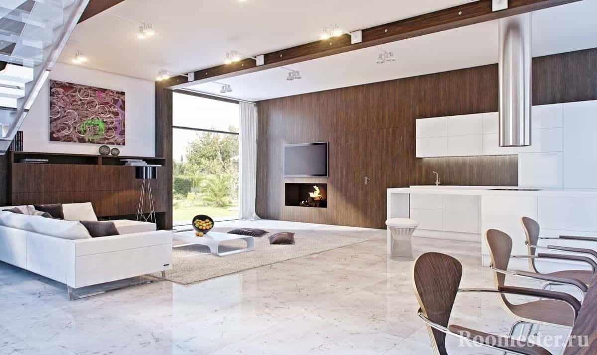 Гостиная может быть отделана под современный стиль и в деревянном доме