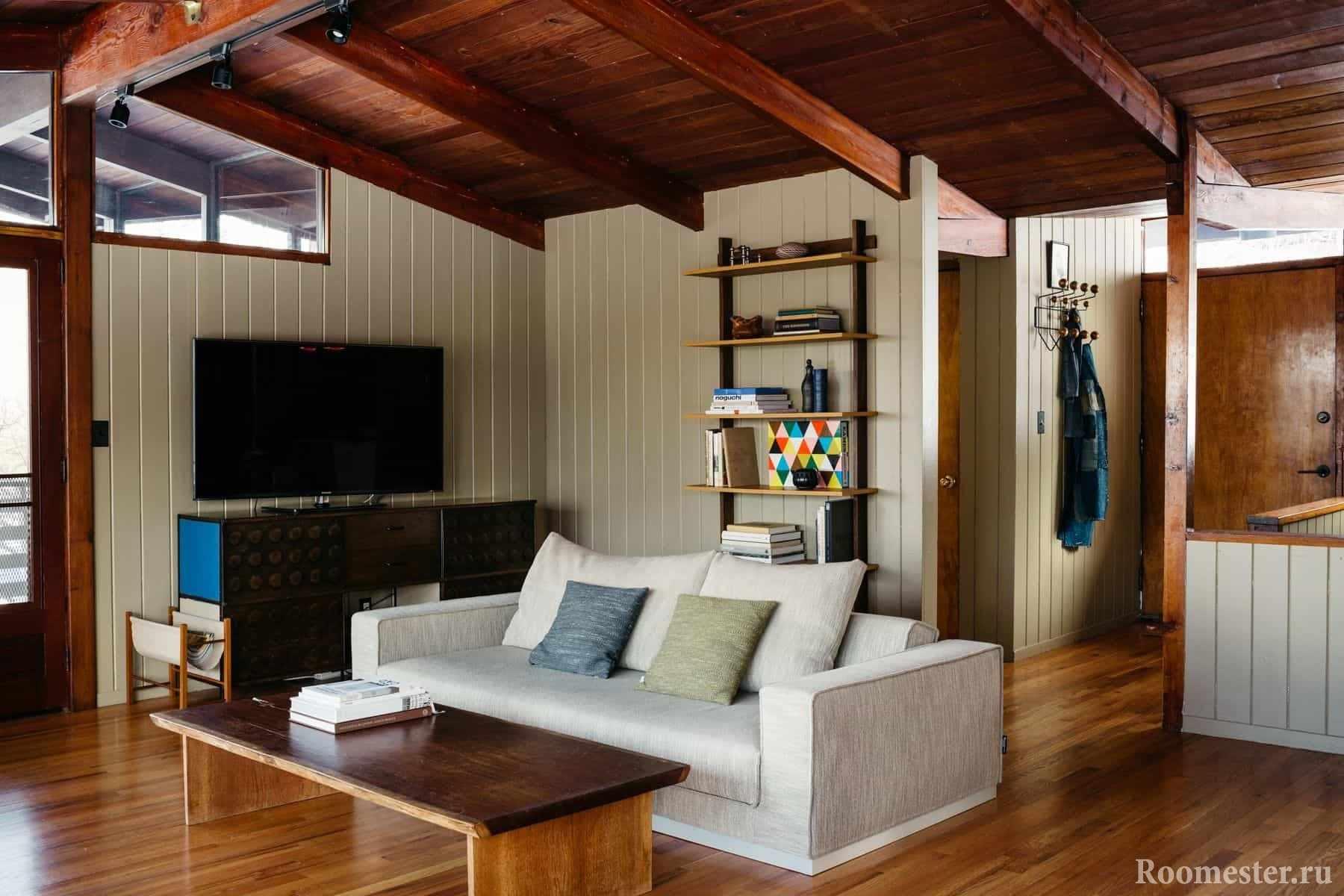 Пример гостиной в деревянном доме