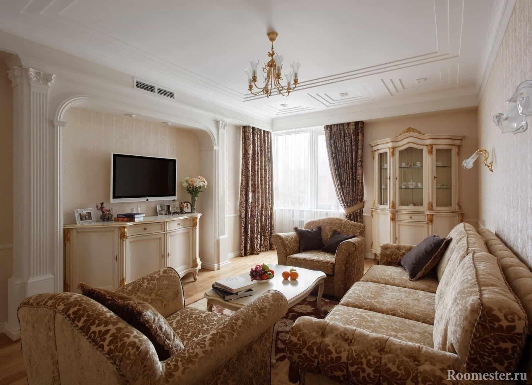 Лепнина в отделке гостиной в классическом стиле