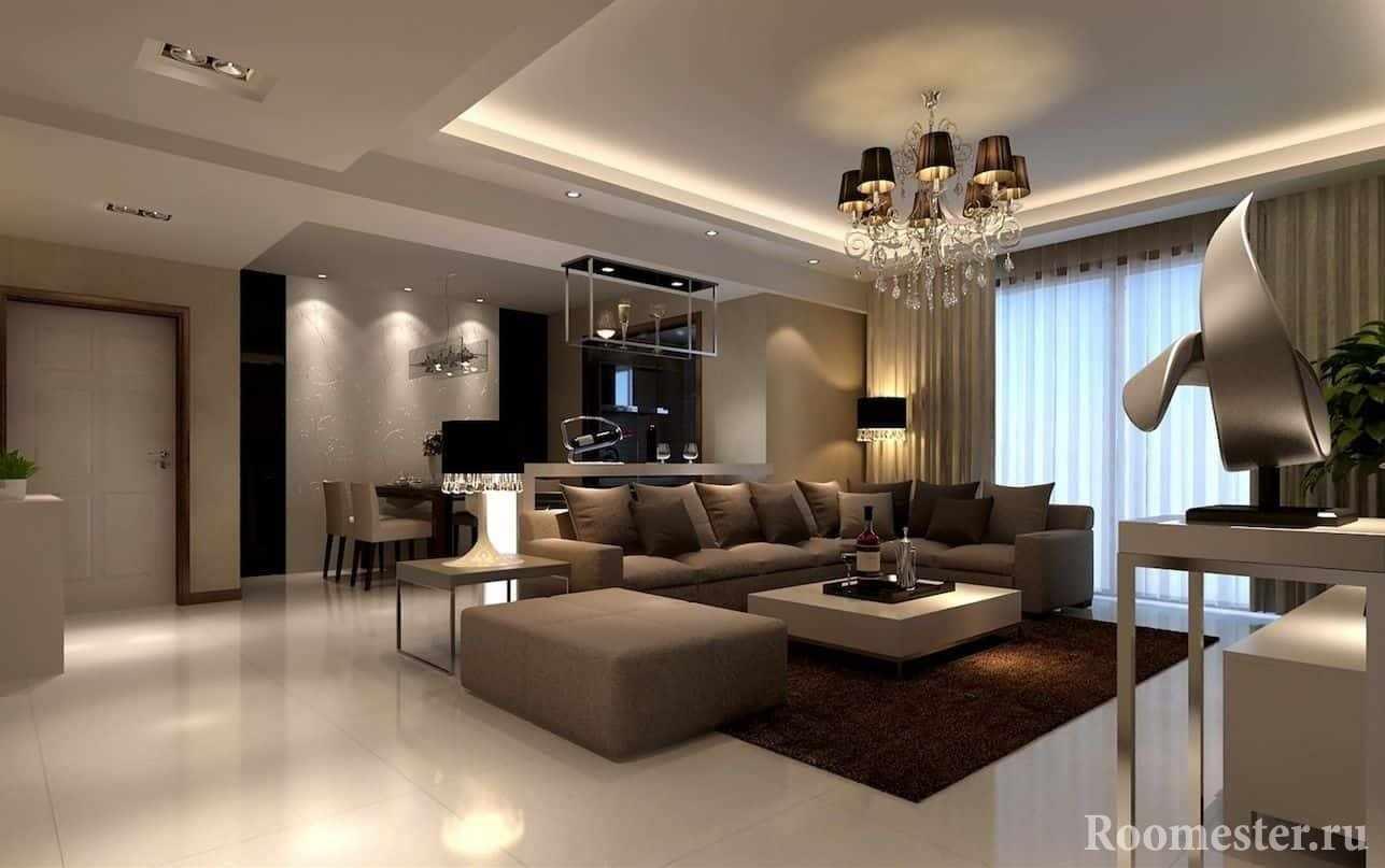 Современный дизайн гостиной в классическом стиле