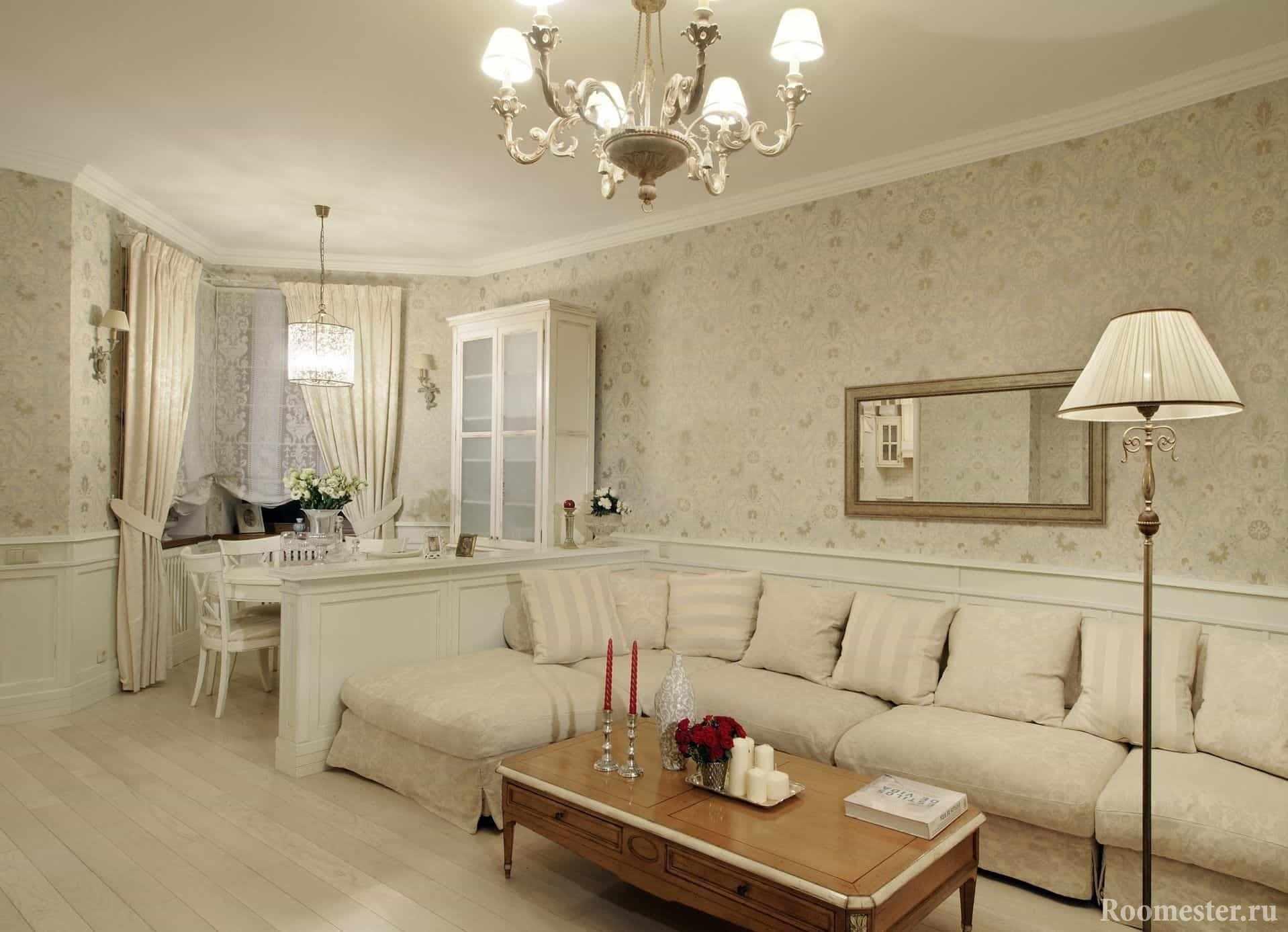 Освещение в гостиной в классическом стиле