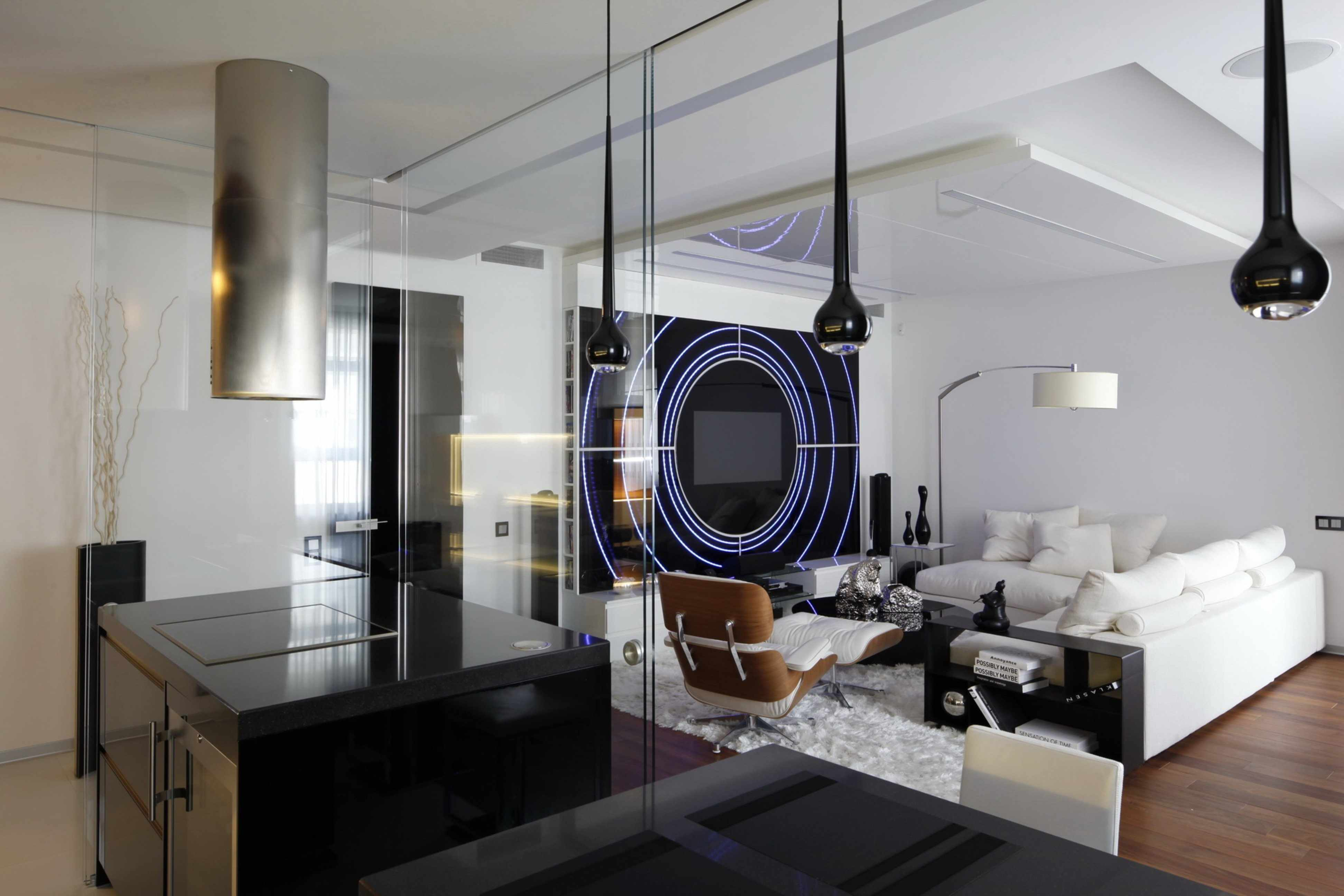Хай-тек в интерьере гостиной