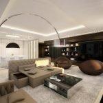 Гостиная с белым потолком