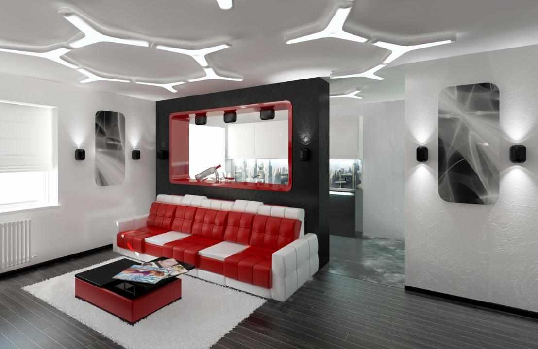 Красный диван с белыми подлокотниками