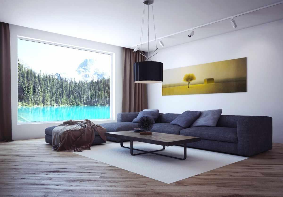 Белые стены в гостиной в стиле минимализм