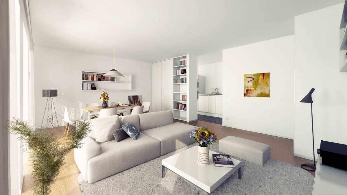 Белый потолок в гостиной в стиле минимализм