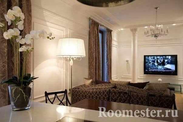 Освещение гостиной в стиле современная классика
