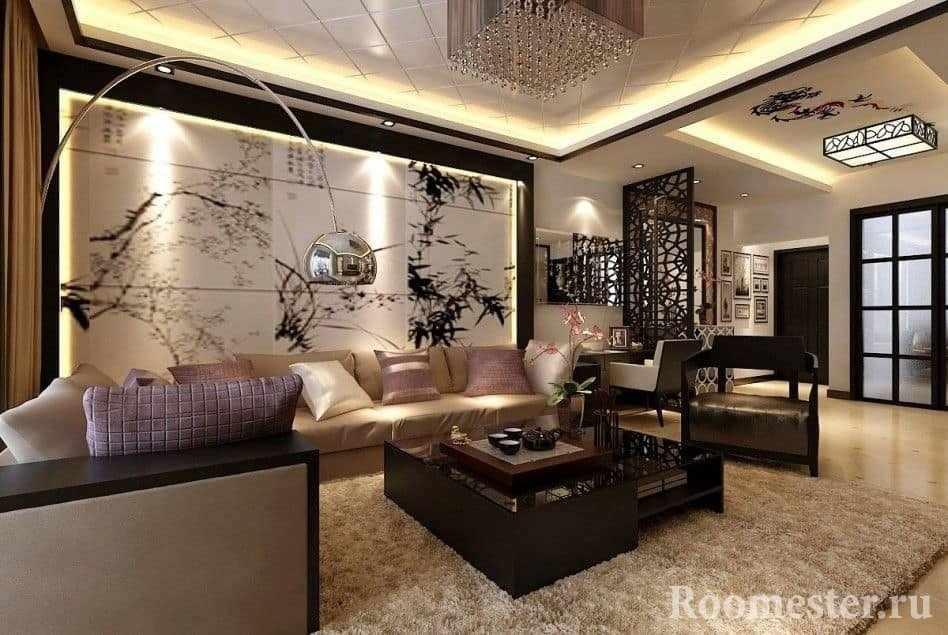 Гостиная в стиле современная классика с ковром на полу и панно на стене