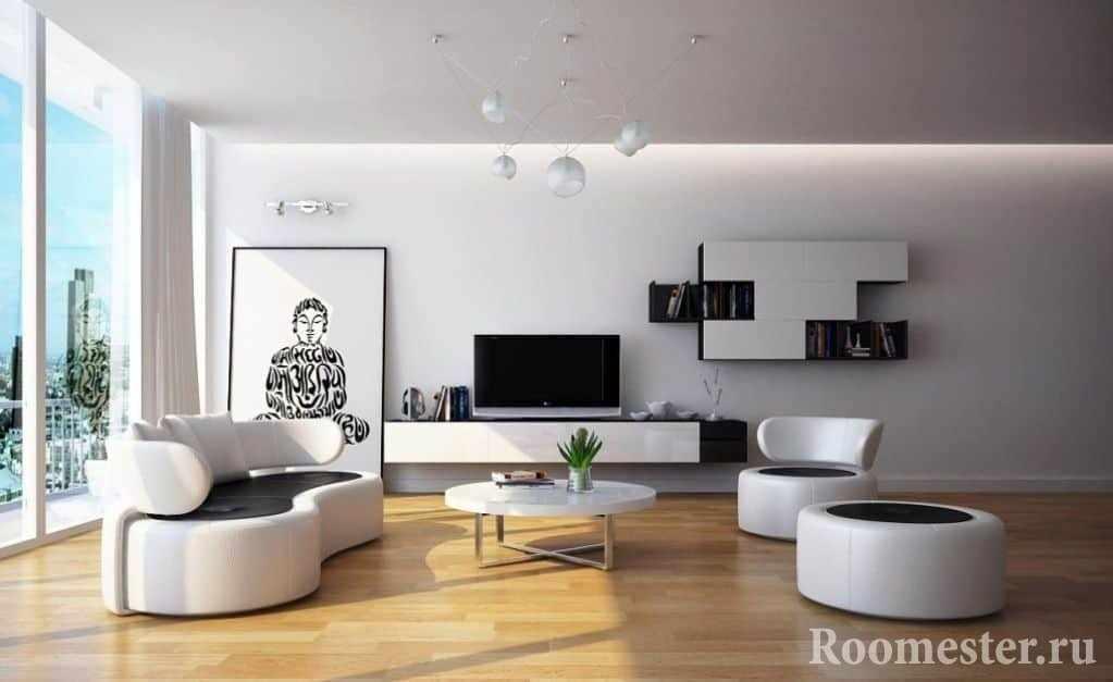 Стиль современная классика в гостиной