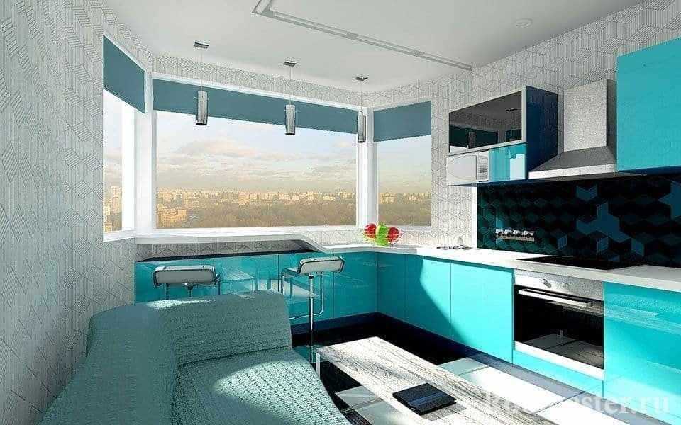Дизайн проект кухни в берюзовом цвете с эркером с барной стойкой у окна