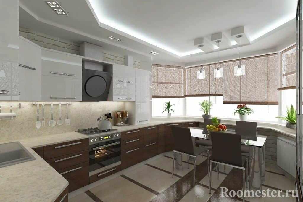Дизайн проект кухни п44т с эркером в многоквартирном доме