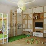 Игровая зона в детской для двух детей