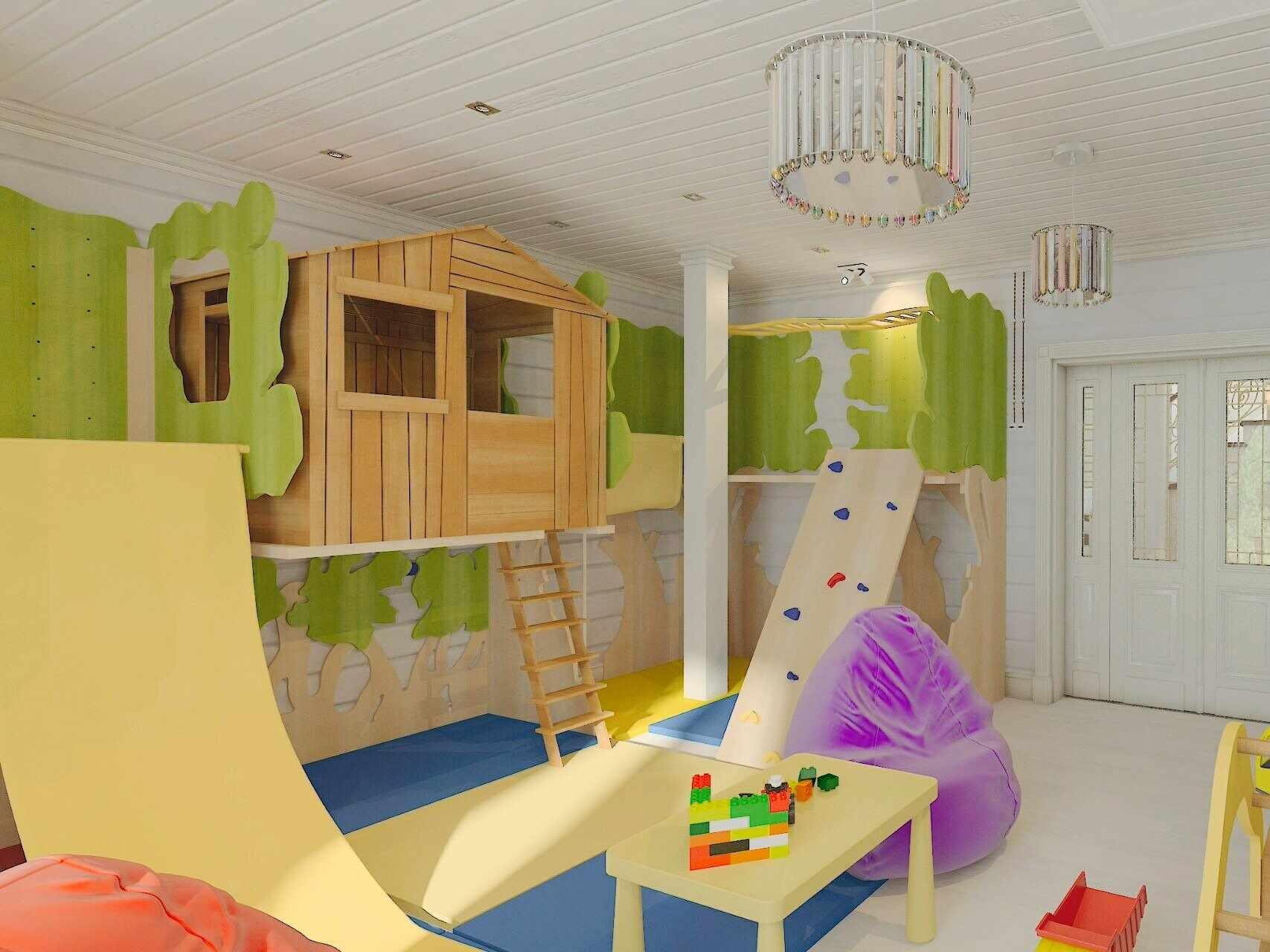 Домик из дерева в игровой комнате