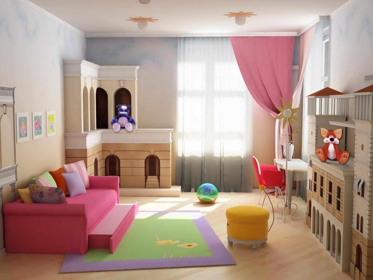 Оформление игровой комнаты в розовых тонах
