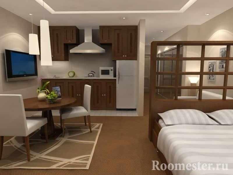 На этом дизайне вы можете увидеть как отделить спальное место в маленькой квартире