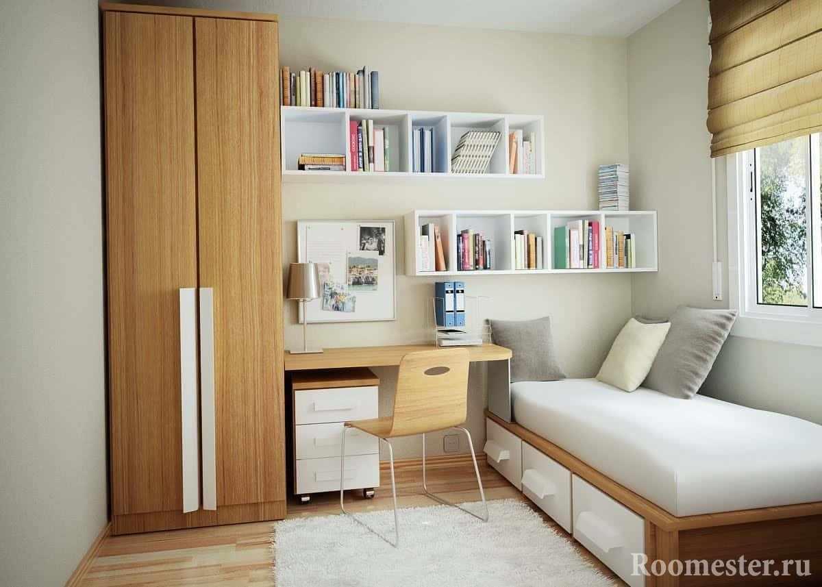 Сспальня с рабочим местом и шкафом