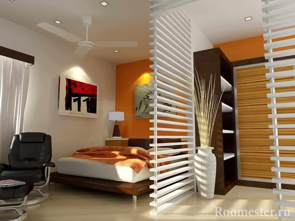 Зонирование спальни на два пространства