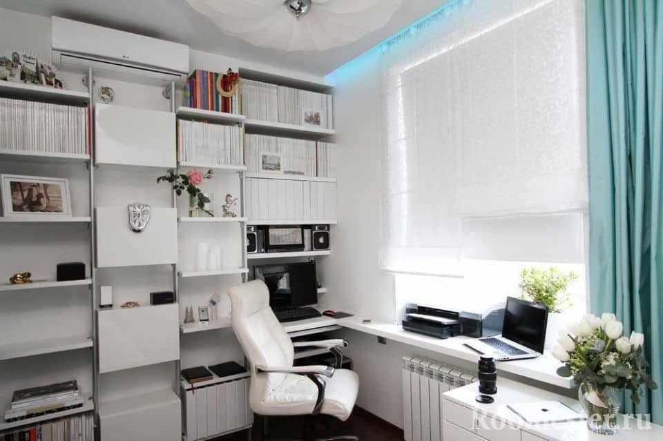 Домашний кабинет в небольшой комнате
