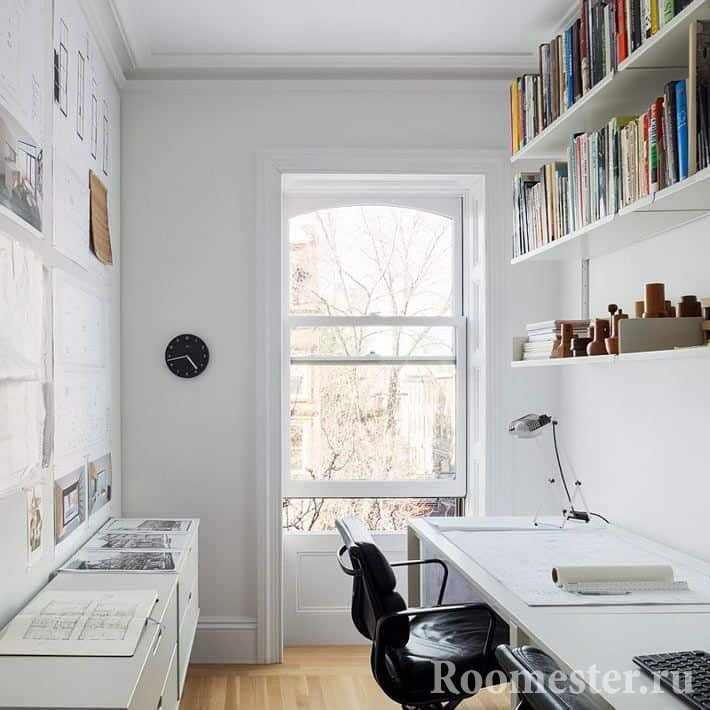 Узкая комната квартире под кабинет