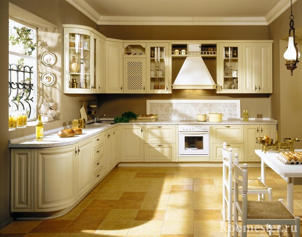 Дизайн угловой классической кухни