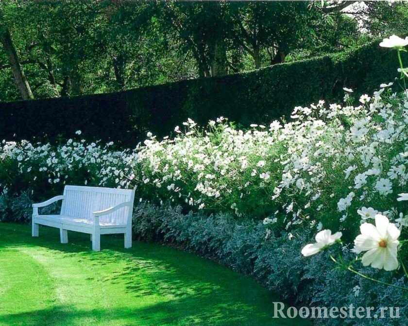 Белая скамья в саду