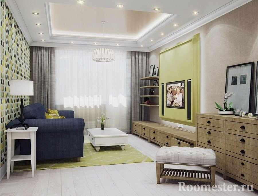 Интерьер светлой гостиной 16 кв м