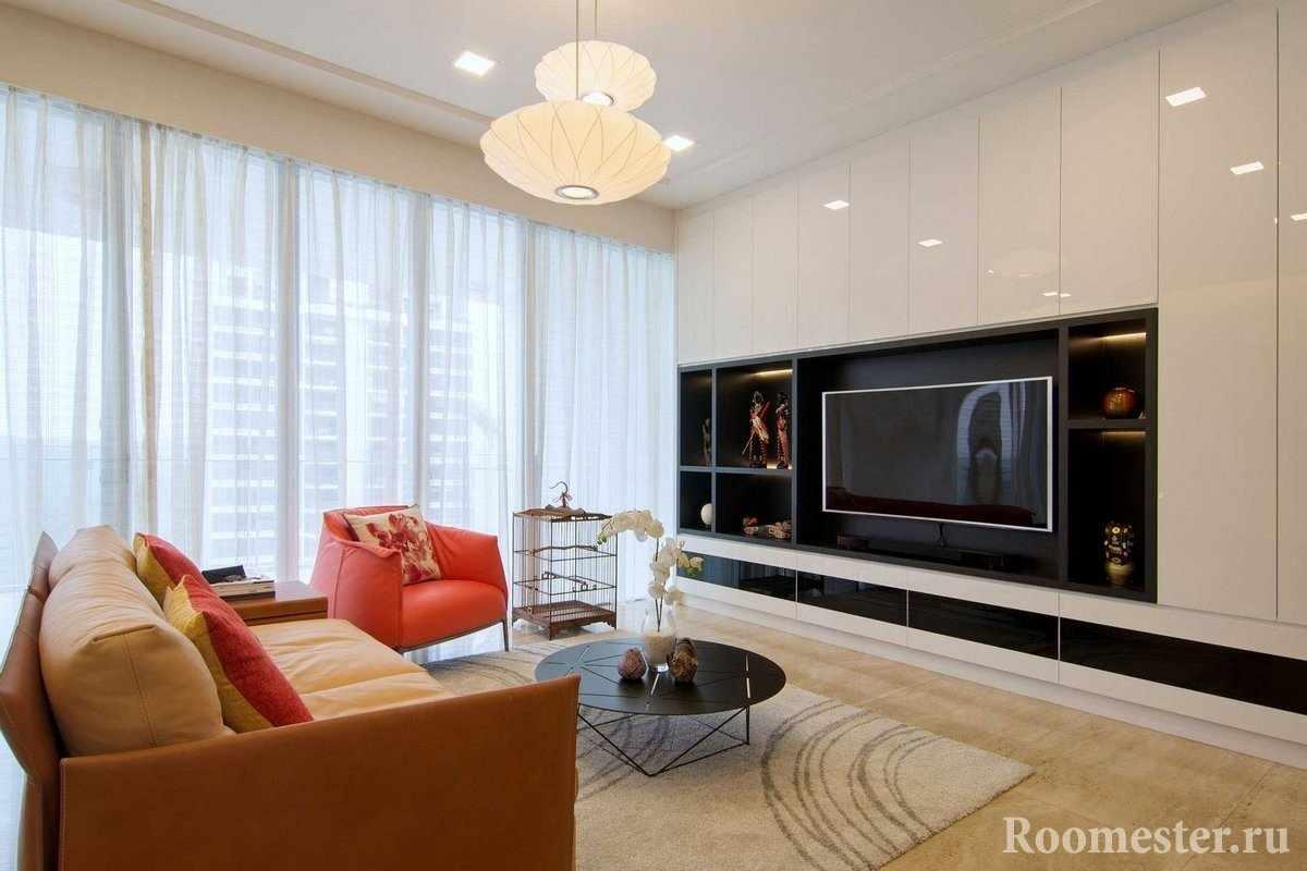 Панорамные окна в дизайне комнаты 18 кв м