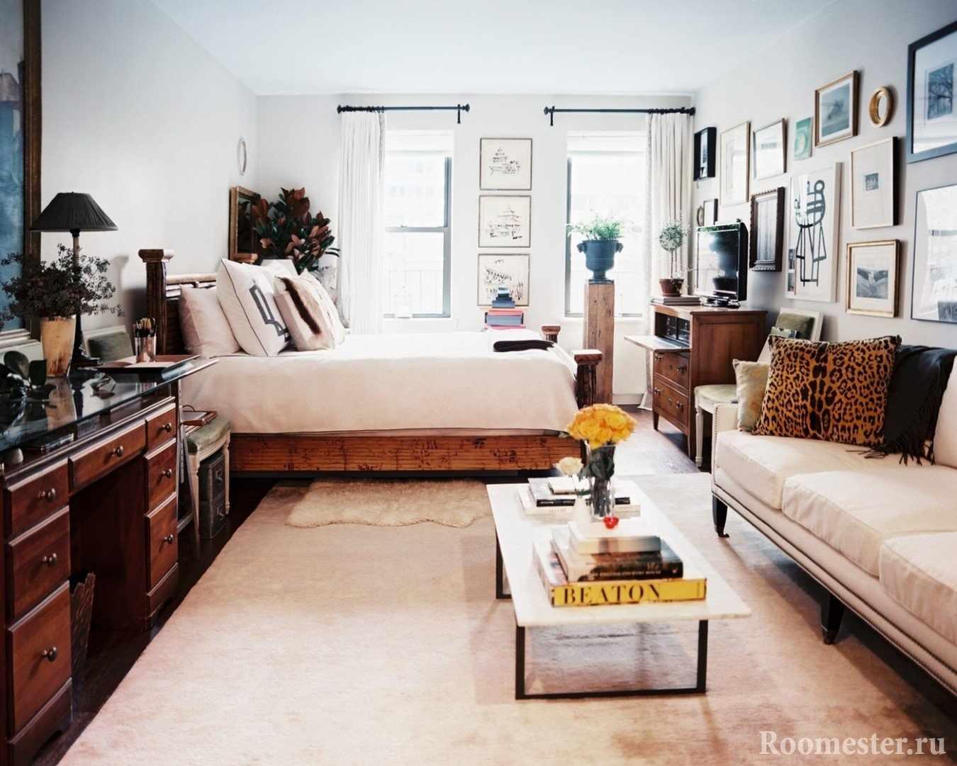 Комната 18 квадратных метров с кроватью