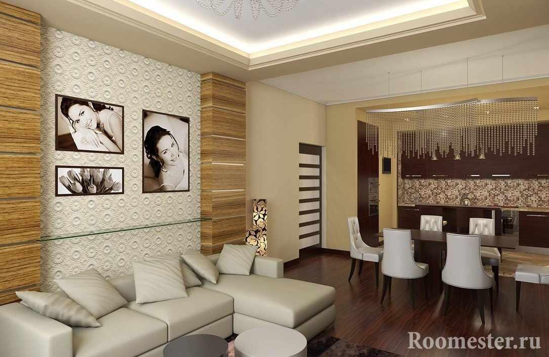 Фото на стене над диваном