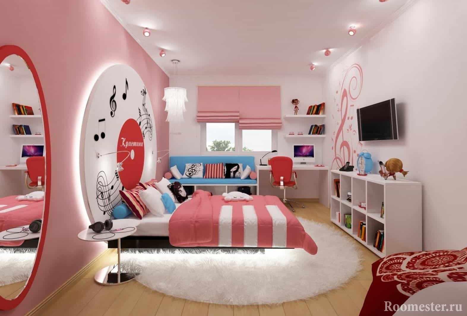Светлая розовая комната