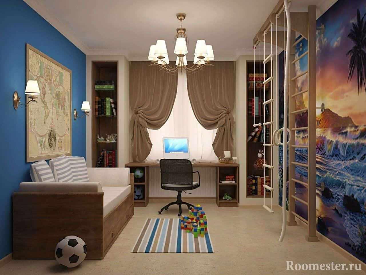 Дизайн проект комнаты в морском стиле