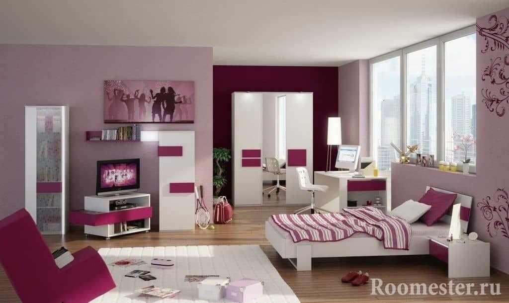 Просторная комната для девочки подростка